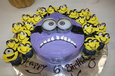 Purple Minion Cake with Yellow Minion cupcakes made by Diana Fore