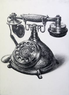 A telephone by on deviantart telephone drawing, pencil shading, pencil art, charcoal Pencil Art Drawings, Realistic Drawings, Art Drawings Sketches, Still Life Sketch, Still Life Drawing, Lady Drawing, House Drawing, Observational Drawing, Pencil Shading