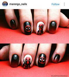 Costume Edge Nails, Nail Swag, Marvel Nails, Avengers Nails, Superhero Nails, Hair And Nails, My Nails, Marvel Avengers, Deadpool