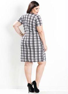 785efc2f6 Vestido Assimétrico (Xadrez) Plus Size Xadrez Plus Size, Feminino,  Gordinha, Roupas
