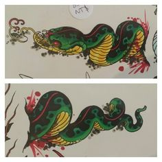 Skin rip snake tattoo flash by James Bird available at Green Lotus in Brunswick Australia