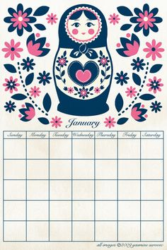 Russian Doll Calendar. I printed it out and love to use it! It's so pretty!