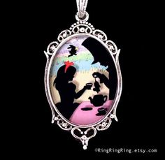 necklace Alice in wonderland Mad hatter Fairy tale silhouette color background. Glass Art pendant on length adjustable chain $45 by RingRingRing on Etsy