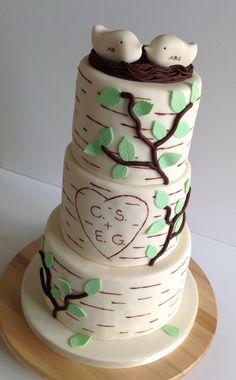 Birch tree wedding cake Lane Cake, Birch Tree Wedding, Wedding Cakes, Desserts, Food, Wedding Gown Cakes, Tailgate Desserts, Birch Wedding, Wedding Pie Table