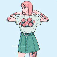 Baddie in rose🌹 Tried drawing tattoos today ✨ Arte Do Kawaii, Kawaii Art, Kawaii Drawings, Cute Drawings, Aesthetic Anime, Aesthetic Art, Arte Copic, Japon Illustration, 8bit Art