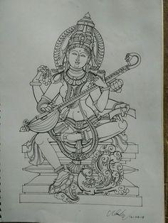 Mysore Painting, Kerala Mural Painting, Tanjore Painting, Indian Artwork, Indian Folk Art, Indian Art Paintings, Outline Drawings, Art Drawings Sketches, India Art