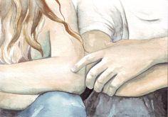 Arte original acuarela chico chica romance amor de San por HelgaMcL