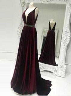 A-Line Deep V-Neck Sleeveless Wine Velvet Prom Dress with Beading. Prom  Dresses Long ... eb355ad93541