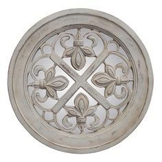 "Features:  -Fleur De Lis collection.  -Finish: Old world white.  -Hand cast in ""Pecan Shell"" resin.  -Hand finished.  -Made in the USA.  Shape: -Round.  Style: -Contemporary.  Country of Manufacture:"