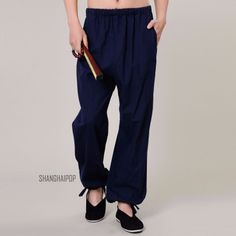 Men tai chi trousers gym kung fu pants #martial arts #sports loose #black/gray/bl,  View more on the LINK: http://www.zeppy.io/product/gb/2/351525177665/