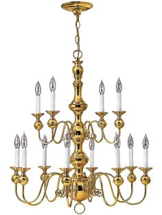 Buy the Hinkley Lighting Polished Brass Direct. Shop for the Hinkley Lighting Polished Brass Virginian 12 Light 2 Tier Candle Style Chandelier and save. Candle Chandelier, Antique Chandelier, Chandelier Ceiling Lights, Chandeliers, Lighting Showroom, Hinkley Lighting, White Candles, Vintage Lighting, Federal