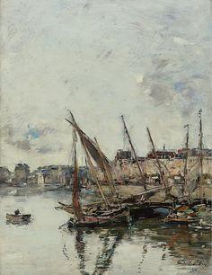 Eugene Boudin - The Port of Trouvill, Marine Basin, 1894. Картины с аукционов Sotheby `s