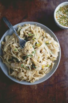pan fried noodles with basil and chili vinegar sauce