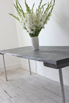 Reclaimed Grey Painted Scaffolding Board and Galvanised Steel Pipe Dining Table - Its salvaged vintage industrial design works perfectly in a Salvaged Furniture, Cute Furniture, Distressed Furniture, Industrial Furniture, Vintage Industrial, Industrial Design, Steel Dining Table, Dining Table Design, Grey Floorboards