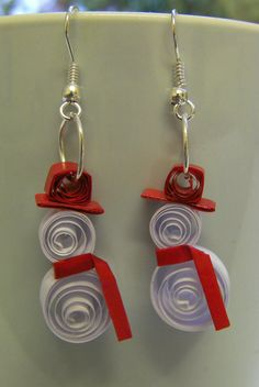 Adorable Paper Quilled Snowman Earrings with Hats and Scarves