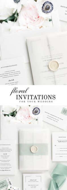The Tessa wedding invitation suite is paired with Emma florals. Emma features blue anemones, blush spray roses, lisianthus, and white mum.