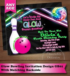 Bowling Party Invitation  Glow In The Dark Bowling Birthday