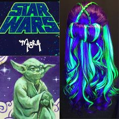 Loved doing this for the #starwarspoplocks contest!!  When I found this image of Yoda I knew it had to be my inspo picture  I used both regular and #blacklight (for a glowing outerspace effect) lighting   A special thank you to @lexxie_coffee for behind the scenes help for both #glowing Star Wars looks