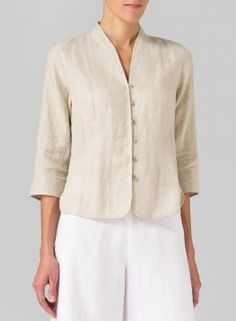 Linen Fitted Mandarin Collar Jacket