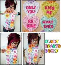 Candy Hearts Scarf ~ crochet project for Valentine's Day | by Twinkie Chan via Makezine