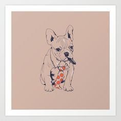 FRENCH BULLDOG BOSS by Huebucket high quality Art Print