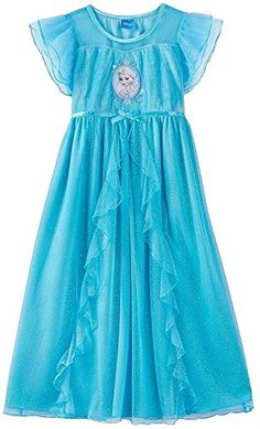 Disney Little Girls' Frozen Queen Elsa Fanstasy Nightgown, Blue, 8 ** Be sure to check out this awesome product.