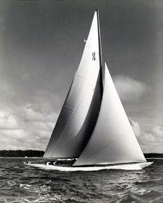 "The gorgeous 1939 Sparkman Stephens classic 12 metre yacht ""Vim"" ex Oyster Bay, New York. Teak deck, brass coffee-grinders, massive Genoa. A delight to helm. www.sparkmanstephens.com"