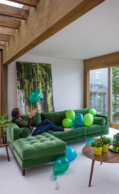 Sven Grass Green Left Sectional Sofa is part of Home design living room - The grass is always greener when you're sitting on this green velvet sectional Lux brushed velvet, loose back cushions and bolsters, and solid wood legs make this couch a keeper