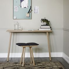 Georg Desk: Georg Desk is a minimalist yet well-proportioned table that is perfect for your work-at-home office. The table leans against the wall and is wide enough to serve as a desk without taking up too much space.The desk drawer is bought seperately. Table Desk, Console Table, Leaning Desk, Design Tisch, Oak Desk, Desk With Drawers, Home Office Desks, Design Awards, Minimalism