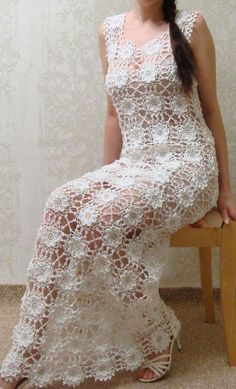 This Pin was discovered by Sus Crocheted dress tunic made to order crochet handmade lace unique flowers Crochet Bracelet - How to start the crocheted jacket with lace pattern in DROPS Gilet Crochet, Crochet Blouse, Knit Dress, Dress Skirt, Knit Crochet, Crochet Wedding Dresses, Maxi Dress Wedding, Bridal Dresses, Crochet Dresses