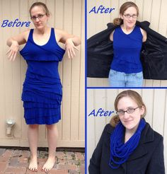 Cobalt Blue Dress into Tank and Scarf - Before & After by nosmallfeet, via Flickr