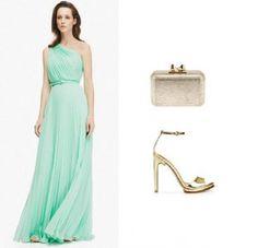 Que zapatos combinan con un vestido verde agua