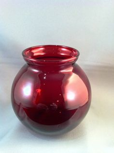 """The Wilson Vase"". Red Vases, Round Vase, Flower Vases, Flowers, Ruby Red, Red Purple, Glass Vase, Colour, Color"