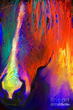Bright Mustang horse Painting  - Bright Mustang horse Fine Art Print