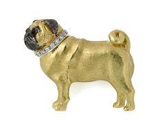 Pug Dog Brooch 18ct yellow gold and diamonds