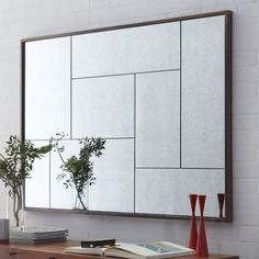 Multi-Panel Foxed Mirror: West Elm I feel a diy coming on Mirror With Shelf, Round Wall Mirror, Mirror With Lights, Tiled Mirror, Wall Mirrors, Hanging Mirrors, Floor Mirrors, Bronze Mirror, Mirror Vanity