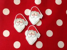 SANTA Machine Embroidered Felt - 3 SANTA  Embellishments / Appliqués ~ Available Cut Or Uncut ~ Ready To Ship - pinned by pin4etsy.com