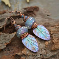 Winter Solstice, Painted Copper Leaf and Lampwork Glass Earrings on Earrings Everyday #earringseveryday #kristibowmandesign