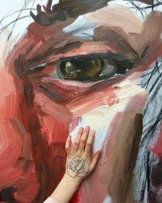 Close up of a I want to painntt Elly Smallwood, Close Up Art, Art Alevel, Bizarre Art, Aesthetic Painting, Happy Paintings, A Level Art, Portrait Art, Portraits