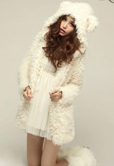 Cute Bear Ear Design Hooded Long Sleeves White Faux Fleece Coat For Women (WHITE,L) China Wholesale - Sammydress.com