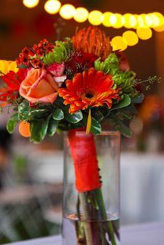 Main Street Florist. LoBue/Holmes wedding. Bridal Bouquet - Gerber Daisies, Fugi Mums, Trix Carnations, Pin Cushions, Hypericum