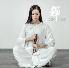 cedf9b63613d23 Free Shipping - Women Qipao collar Zen Clothes for Yoga, Tai Chi,  Meditation, Home loungewear