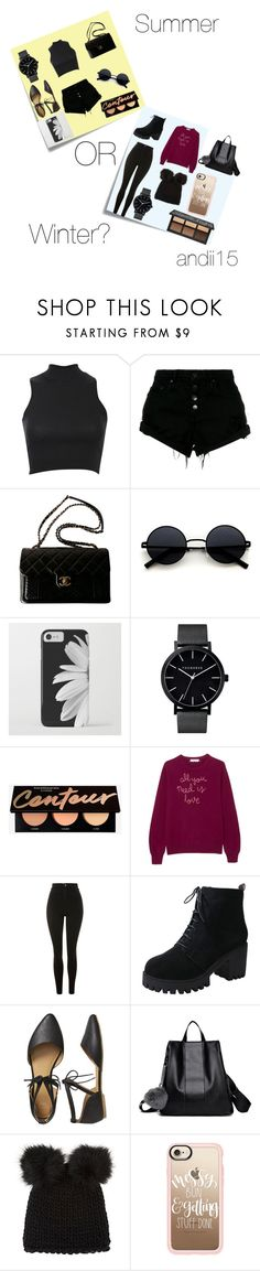 """Summer or winter ?"" by andii15 ❤ liked on Polyvore featuring Post-It, Pilot, Nobody Denim, Chanel, Lingua Franca, Topshop, Gap, Barneys New York and Casetify"