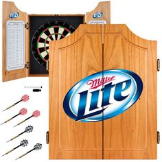 Miller Lite Dart Cabinet Includes Darts and Board from ManCaveGiant.com