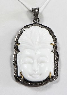 Buddha a Design Oendant with carved White Onyx and oxidized Pave Diamonds with Diamond Bail