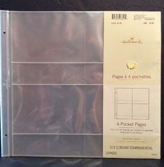 Hallmark Photo Pages 4 Pocket 12x12 Refill Holds 4x6 10 AR1911 New Post Bound #Hallmark