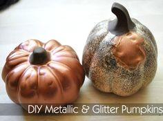 Monica Wants It: A Lifestyle Blog: Metallic & Glittered Dollar Store Pumpkins {DIY Tutorial}