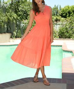Anandas Collection Peach Embellished Midi Dress | zulily