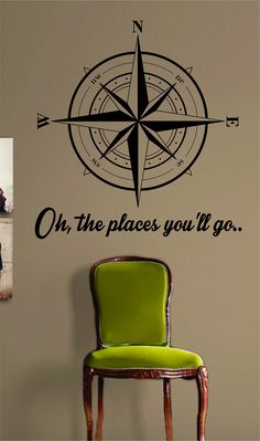 Compass Rose Oh The Places Youll Go Nautical Sticker Decal Wall Vinyl Art Beach Ocean Quote