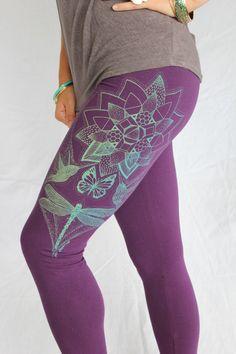 Lotus Yoga Leggings Monarch Butterfly Humming by AkuaCreative
